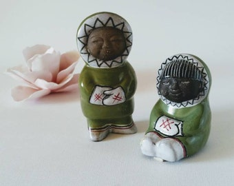 Mari Simmulson / Pair of inuit figurines / Upsala Ekeby Sweden / 1950's ceramic