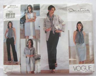 Vogue 2664 UNCUT Oscar de la Renta American Designer Wardrobe Sewing Pattern Jacket Dress Top Skirt Pants Scarf Size 6 8 10