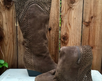 Vintage Brown Leather Suede Knee High Boots By Sofft / Leather Boots / Brown Suede Shoes / Suede Boots / Wedges /Sofft Boots /Brown Boots