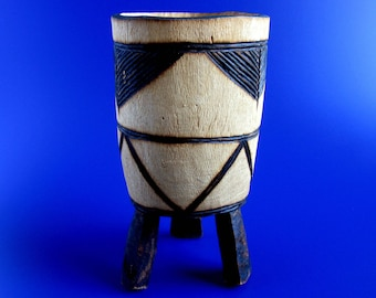 African Carved Wood Tripod Vase / Utensil Holder / Pen Holder / African Drum Shaped / Tribal / Hand Carved Vase / Dry Flower Vase / 8.5""