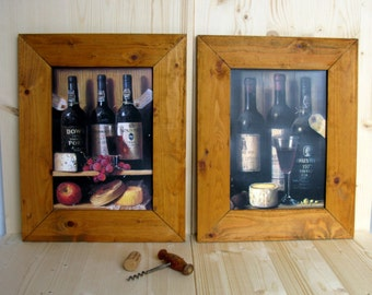 80s / Wine and Cheese / Wood Framed Picture / Set of 2 / Retro Bar / Kitchen Decor / Rustic / Bar Art / Man Cave / Wine Lover / Gift Idea