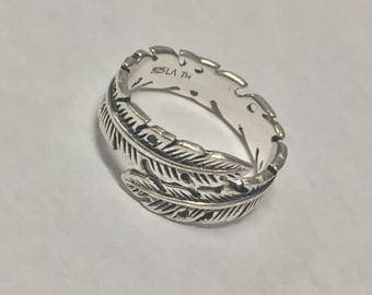 Sterling Silver Feather Wrap Around Ring Signed LA