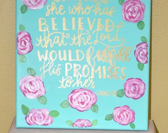 Bible Verse Art - Bible Verse Wall Art - Luke 1:45 - Floral Art - Bible Christian Decor - Bible Verse Canvas - Bible Christian Wall Decor