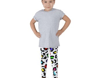 Leopard Kids leggings, Cheetah Print Leggings for Girls, Snow Leopard Design, Kids Gymnastic Pants, Kids Animal Print, Cool Kids Leggings