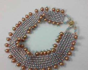 Seed Bead & Pearl Bracelet (beadweaving - herringbone stitch with topaz pearls, metallic peach and light blue seed beads