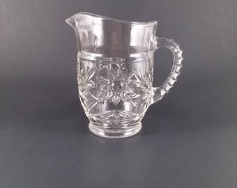 Depression Glass Gravy Pitcher Sunburst Design