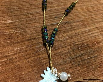 Cord Necklace with Crystal and Mother of Pearl Pineapple