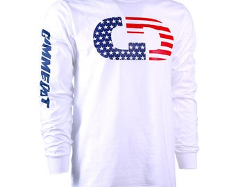 GIMMEDAT Stars & Stripes Logo Long Sleeve T-Shirt - Free Shipping!