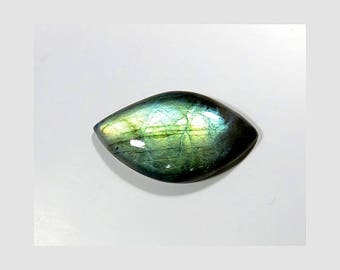 Natural Labradorite Loose Gemstone Cabochon Fancy Shape Blue Fire Labradorite Gemstones 36X20X7mm 34 Cts