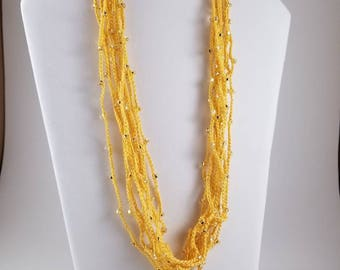Golden Yellow Beaded Necklace