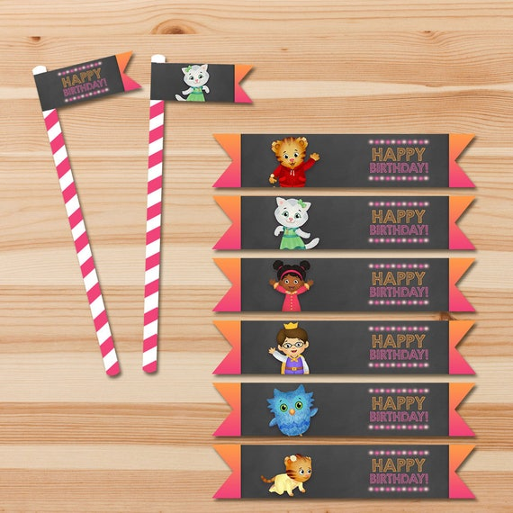 Daniel Tiger Birthday Straw Flags - Pink Chalkboard - Girl Daniel Tiger Straw Flags - Daniel Tiger Birthday Party - Daniel Tiger Party Favor