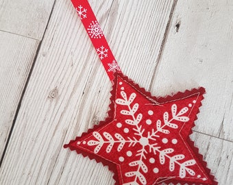 Scandi Star Christmas decoration, hanging tree decoration, quilted