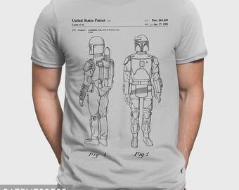 Boba Fett T-Shirt Gift For Star Wars Fan, Boba Fett Tee Star Wars Shirt, Starwars T-Shirt Gift For Him, Boba Fett Bounty Hunter Patent P379