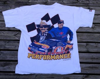 90's Vintage Richard Petty Legendary Performance Carborundum Abrasives Racing double-sided white t-shirt XL