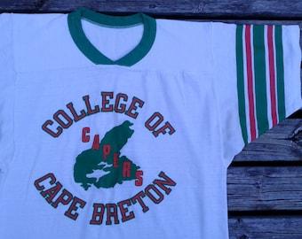 Vintage 80's College of Cape Breton Capers t-shirt medium