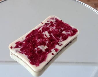 Gourmet Chocolate Raspberry Slab/Bar White Belgium Chocolate Slab with Raspberry Crumb & Raspberry Swirl 100g Bar