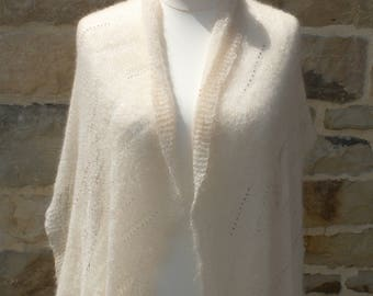 Stole or shawl thin rectangular mohair (mohair lace) creamy white