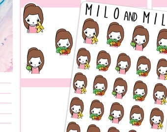 Healthy Fruit and Vegetables Girls | Planner Stickers | Multiple styles