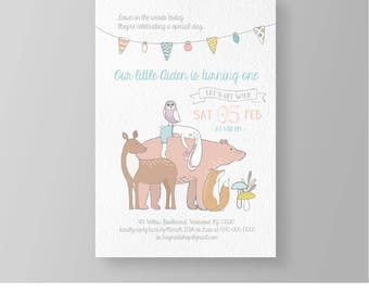 Woodland Baby Birthday Invitation Template | Printable Animal Party Invite | DIY Editable | Instant Download | Neutral, Boy or Girl #025NBD