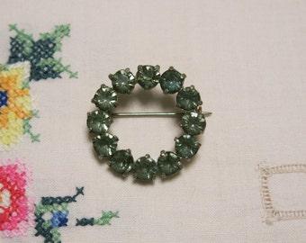 Vintage blue crystal circle brooch