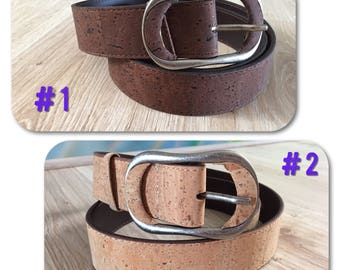 Natural cork and leather women belt in two colors, cork accessories, gift for her