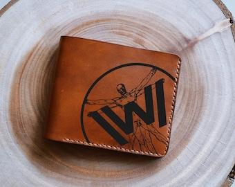 Vitruvian man/Man wallet/leather wallet/westworld wallet/custom wallet/boyfriend gifts/birthday gifts/Gift for man/bi folder men wallet