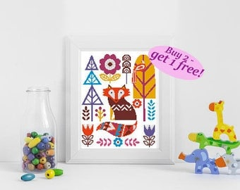 Fox cross stitch, Folk art pattern PDF, baby cross stitch, modern nursery cross stitch, Ornament cross stitch