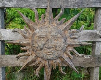 large metal sun garden decor wall art metal sun face decor metal garden wall - Metallic Garden Decor