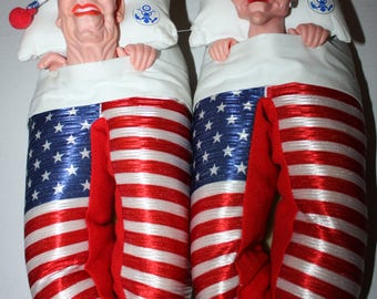 Ronald Reagan and Nancy President & First Lady Slippers Spitting Image 1988 American Flag Size Large