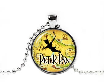 Peter Pan Necklace Neverland Map Pendant Peter Pan Neverland Necklace Fangirl Fanboy