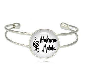 Hakuna Matata Cuff Bangle No Worries Swahili Phrase Lion King Bracelet Hakuna Matata Jewelry