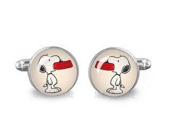Snoopy with Bowl Cuff Links Snoopy Cufflinks 16mm Cufflinks Gift for Men Groomsmen Novelty Cuff links Fandom Jewelry