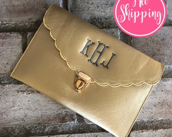 GOLD CLUTCH BAG - Bridesmaid Gift - Monogram Clutch Bag - Monogrammed Clutch - Personalized Gift for Her - Monogram Clutch Purse - Crossbody