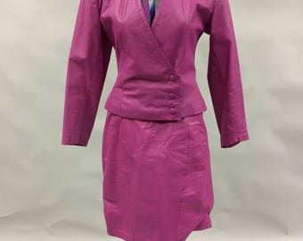 1980s 1990s Hot Pink Leather Jacket and Matching High Waist Mini Skirt Size 2-4 by Yacatan Bay | Extra Small