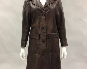1990s Brown Leather Duster with Patch Pockets by Pelle Studio Wilson's Leather Size Medium