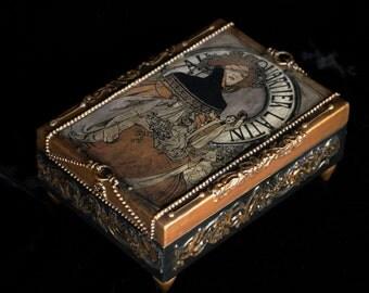 Jewelry box, wooden box, Art  Nouveau modern,   wood box, gold box,  decoupage box, Alfons Mucha