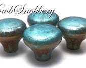 Blue Patina Decorative Knobs for Your Dresser Drawers & Cabinet Doors.  Beautiful Patina w/High Gloss Finish. Buy Only As Many As You Need.