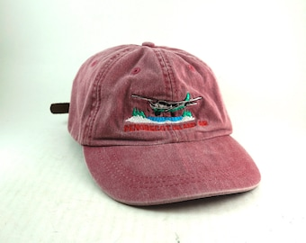 Penobscot Island Air Aviation Dad Hat // Light Red Airplane Baseball Cap // Aviation Lover Low Profile Hat