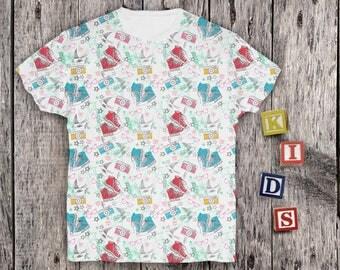 Graphic Shirt for Kids Funny Cute Kids Tee Full Printed Girls Shirt Squid Shirt Kids Design Childrens Gift Shirt Baby Boys Graphic PA1068