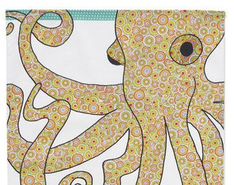 Octopus tea towel - Printed Kitchen towel - Cotton dish towel- Marine themed kitchen decor for home. Gift for new home owner from MollyMac