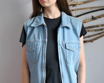 Blue jeans vest 1990s 1980s vintage womens zipper jacket