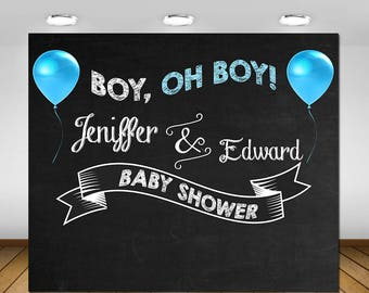 Printable Chalkboard Baby Shower Backdrop, Blue and White Baby Boy Baby Shower Party Backdrop, Chalkboard Party, Baby Boy Party, Backdrop