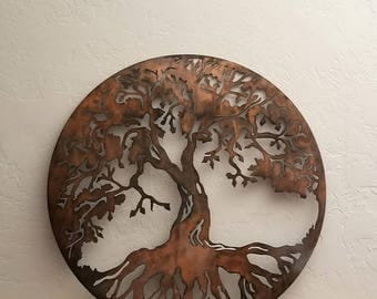 Tree Of Life Metal Wall Art/Tree Metal Art/Round Wall Art/Metal
