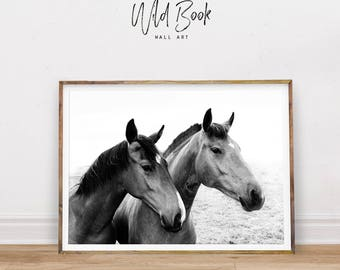Horses Wall Art, Black And White Photography, Horse Print, Modern Wall Art,