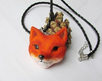 Fox necklace Red fox pendant  polymer clay Miniature animal Gift for girl Animal totem gift Jewelry handmade Woodland jewelry