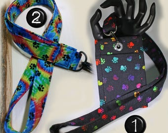 Paw Print Made to order Lanyard & Optional Matching ID Badge Holder. Optional break away buckle. Rainbow colors.