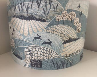 Hand made rolled-edge 'Into the Woods' fabric lampshade