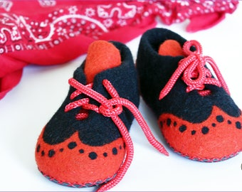 Felted Slippers Baby Booties Toddler Child Orange Babe Wool Laced Up Cozy Warm Comfy Kids Clogs Shoes Newborn Announcement Baby Shower Gift