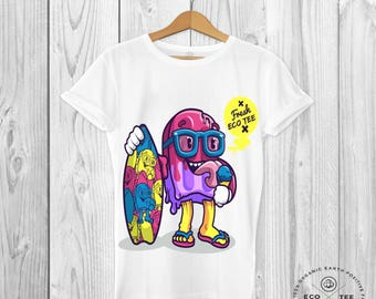 Fresh Eco Tee - Ice cream shirt - Summer Tshirt - Graphic Tees - Organic top - Vegan clothing - Fairtrade - Beach shirt - Fashion Tshirt