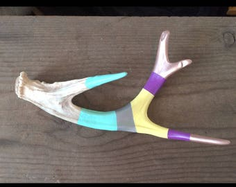 Hand painted naturally shed deer antler, bright colors